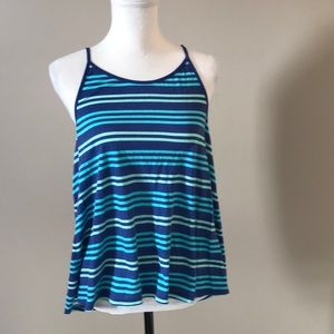 EUC American Eagle Outfitters Blue Striped Tank Lg